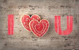 Galleta del día de tarjeta del día de San Valentín Fotos de archivo