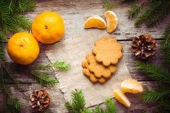 Galleta del pan de jengibre con los mandarines en fondo de la Navidad Imagenes de archivo