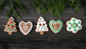 Galleta del pan de jengibre de la Navidad Fotografía de archivo