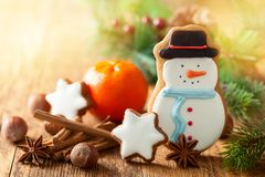 Galleta del pan de jengibre del muñeco de nieve Fotografía de archivo libre de regalías