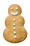 Galleta feliz hecha en casa de Navidad del muñeco de nieve aislada Foto de archivo