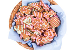 Galleta hecha en casa del Año Nuevo con el número 2014 Imagenes de archivo