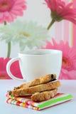 Galleta italiana con café Fotos de archivo