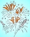 Galleta Rocket del fuego de la Feliz Año Nuevo Imagen de archivo libre de regalías