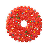 Galleta roja redonda de la Navidad Imagen de archivo
