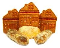 Galleta, similar a una casa, a las tortas y a las galletas Fotos de archivo libres de regalías