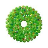 Galleta verde redonda de la Navidad Fotos de archivo