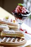 Galleta y helado deliciosos Fotografía de archivo libre de regalías