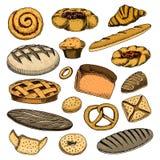 Galletas belgas del buñuelo del pan y de los pasteles y empanada de la fruta bollo o cruasán dulce, mollete y tostadas mano graba Foto de archivo