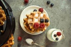 Galletas belgas hechas en casa con las frutas, los arándanos, las frambuesas y el yogur del bosque Fotografía de archivo