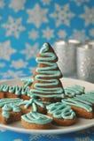 Galletas coloridas adornadas de la miel de la Navidad Foto de archivo libre de regalías