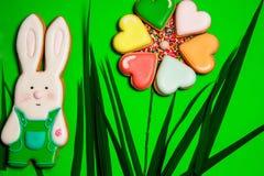 Galletas coloridas de las liebres y del corazón en verde Imagenes de archivo