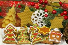Galletas coloridas del pan de jengibre Imagen de archivo libre de regalías