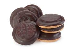 Galletas con la mermelada y el chocolate de la fruta Imagenes de archivo