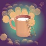 Galletas con leche Imagen de archivo libre de regalías