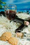 Galletas con los vidrios de vino rojo Imagenes de archivo