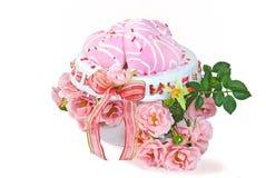Galletas de azúcar rosadas del corazón Imágenes de archivo libres de regalías
