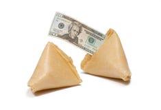Galletas de fortuna con el mensaje de $20 Bill Imagen de archivo libre de regalías