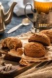 Galletas de harina de avena primer, desayuno de la mañana, aún vida Foto de archivo