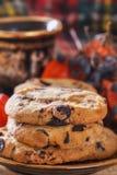 Galletas de harina de avena primer, desayuno de la mañana, aún vida con las galletas y café Imagen de archivo libre de regalías
