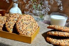 Galletas de harina de avena con las semillas Fotografía de archivo libre de regalías
