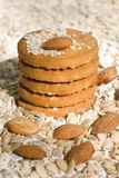 Galletas de harina de avena con los ingredientes frescos para ellos Foto de archivo libre de regalías
