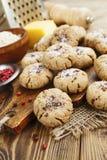Galletas de harina de avena de la sal con queso y pimienta Imagenes de archivo