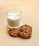 Galletas de harina de avena deliciosas y un vidrio de leche Foto de archivo