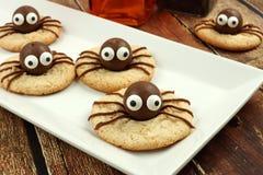 Galletas de la araña de Halloween del chocolate en una placa blanca Foto de archivo libre de regalías