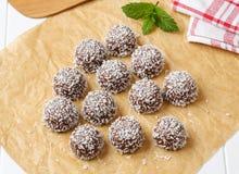 Galletas de la bola de nieve del coco del chocolate Fotografía de archivo libre de regalías