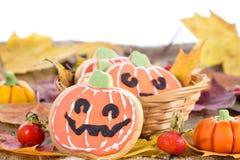 Galletas de la calabaza de la decoración de Halloween Imágenes de archivo libres de regalías