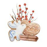 Galletas de la composición de la Navidad de la acuarela stock de ilustración