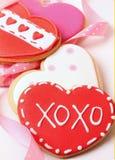 galletas de la Corazón-dimensión de una variable para el día de tarjeta del día de San Valentín Foto de archivo libre de regalías