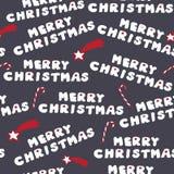 Galletas de la Feliz Navidad Modelo inconsútil Vector el ejemplo con las estrellas y los caramelos de la Navidad en fondo gris os Fotografía de archivo