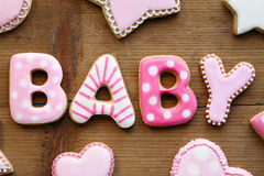 Galletas de la fiesta de bienvenida al bebé imagen de archivo libre de regalías