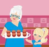 Galletas de la hornada de la abuela con su nieta stock de ilustración