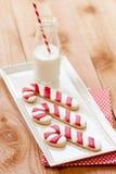Galletas de la leche y de la Navidad Imágenes de archivo libres de regalías
