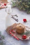 Galletas de la leche y de harina de avena para Santa Claus fotografía de archivo libre de regalías