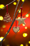 Galletas de la Navidad como decoración del árbol fotografía de archivo libre de regalías