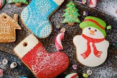 Galletas de la Navidad con la formación de hielo Imagen de archivo