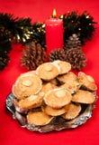 Galletas de la Navidad de la almendra Imágenes de archivo libres de regalías