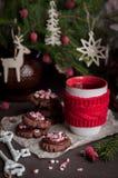 Galletas de la Navidad del chocolate con el bastón de caramelo machacado Imagen de archivo libre de regalías