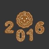 Galletas 2016 de la Navidad del pan de jengibre Imagen de archivo libre de regalías