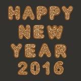Galletas 2016 de la Navidad del pan de jengibre Foto de archivo libre de regalías