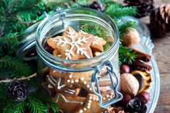 Galletas de la Navidad del pan de jengibre Foto de archivo
