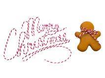 Galletas de la Navidad en el fondo blanco Hornada de la Navidad Fabricación de las galletas de la Navidad del pan de jengibre Con Fotos de archivo
