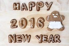 Galletas de la Navidad Feliz Año Nuevo 2016 Imagen de archivo libre de regalías