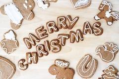 Galletas de la Navidad Feliz Año Nuevo Fotografía de archivo