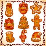 Galletas de la Navidad fijadas Foto de archivo
