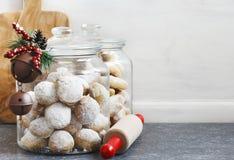 Galletas de la Navidad Galletas mexicanas del creciente de almendra del cookiesand de la boda Foto de archivo